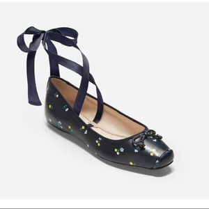 NEW Cole Haan Downtown Navy Floral Ballet …
